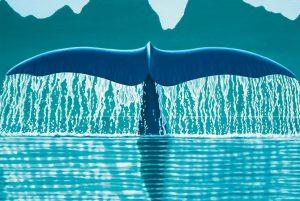 «Wale's tail», dipinto di Paolo Curto della serie «Reflections». I suoi quadri sono tutti oli su tela: «Dipingo di getto: quando inizio, cancello ogni altro impegno per almeno due settimane».