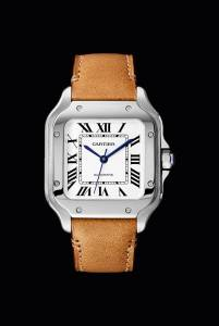 Santos de Cartier si rinnova rimanendo fedele allo spirito del suo tempo, modello medio in acciaio, con cinturini intercambiabili, automatico (6.100 euro).
