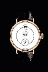 Tribute to Pallweber Edition 150 Years, indicazione digitale di  ore e  minuti, cassa in oro rosso di 45 mm, quadrante laccato, Iwc (37.400 euro, iwc.com).